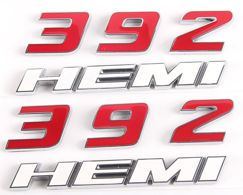 Amazon com 392 hemi emblem fender side badge sticker 6 4l decal for dodge challenger srt chrysle 300c 3500 srt8 hemi emblem nameplates whiteredpack of