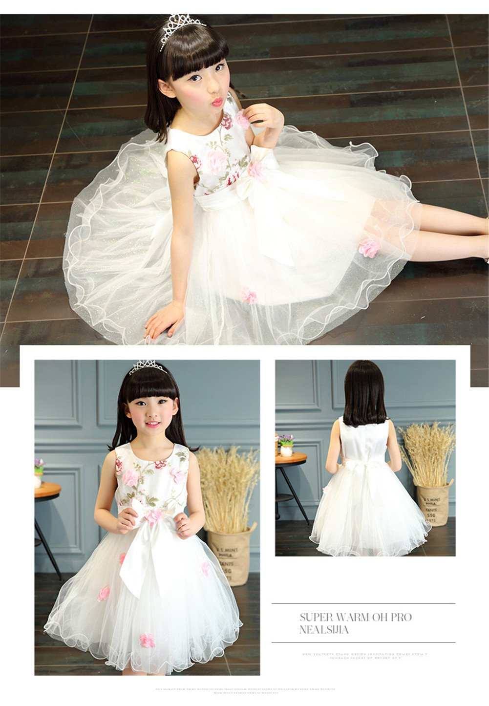 FTSUCQ Girls Floral Printed Bowknot Twirling Princess Dress (120(6-7Y), White) by Dillian Dress (Image #3)