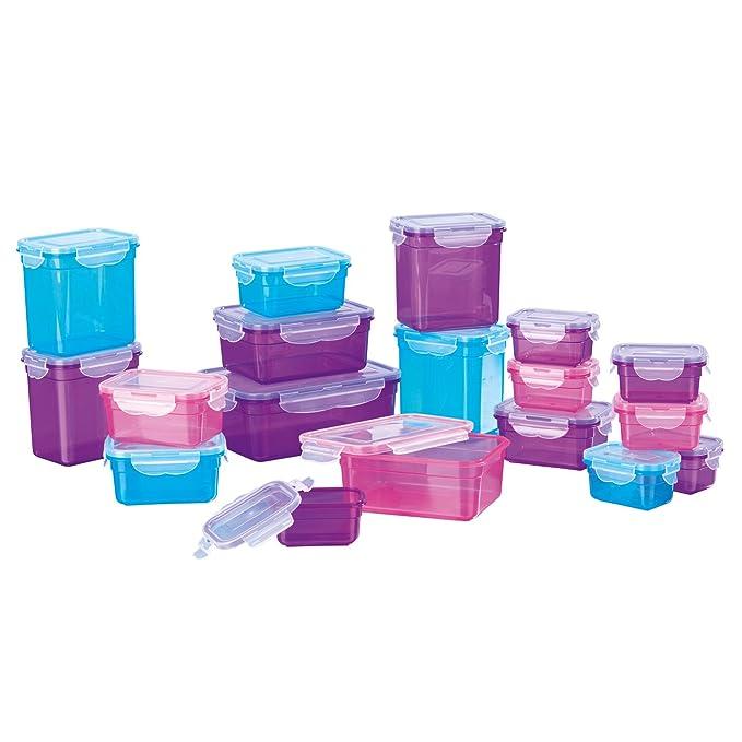 GOURMETmaxx 02003 - Envases de almacenamiento de alimentos sin BPA, Apto para lavavajillas, congelador y microondas, tapa de clip, Multicolor, ...