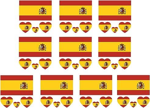 10 hojas de corazón a prueba de agua en forma de pequeña bandera nacional de la cara pegatinas de tatuaje para 2018 fútbol fanáticos fútbol fanáticos Brasil España: Amazon.es: Juguetes y juegos