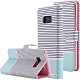 Galaxy S8 Brieftasche Hülle,Galaxy S8 Case, Snewill S8 Wallet Case PU Leather Flip Case Cover with Card Slots & Kickstand for Samsung Galaxy S8 - Minimal Mint Stripes