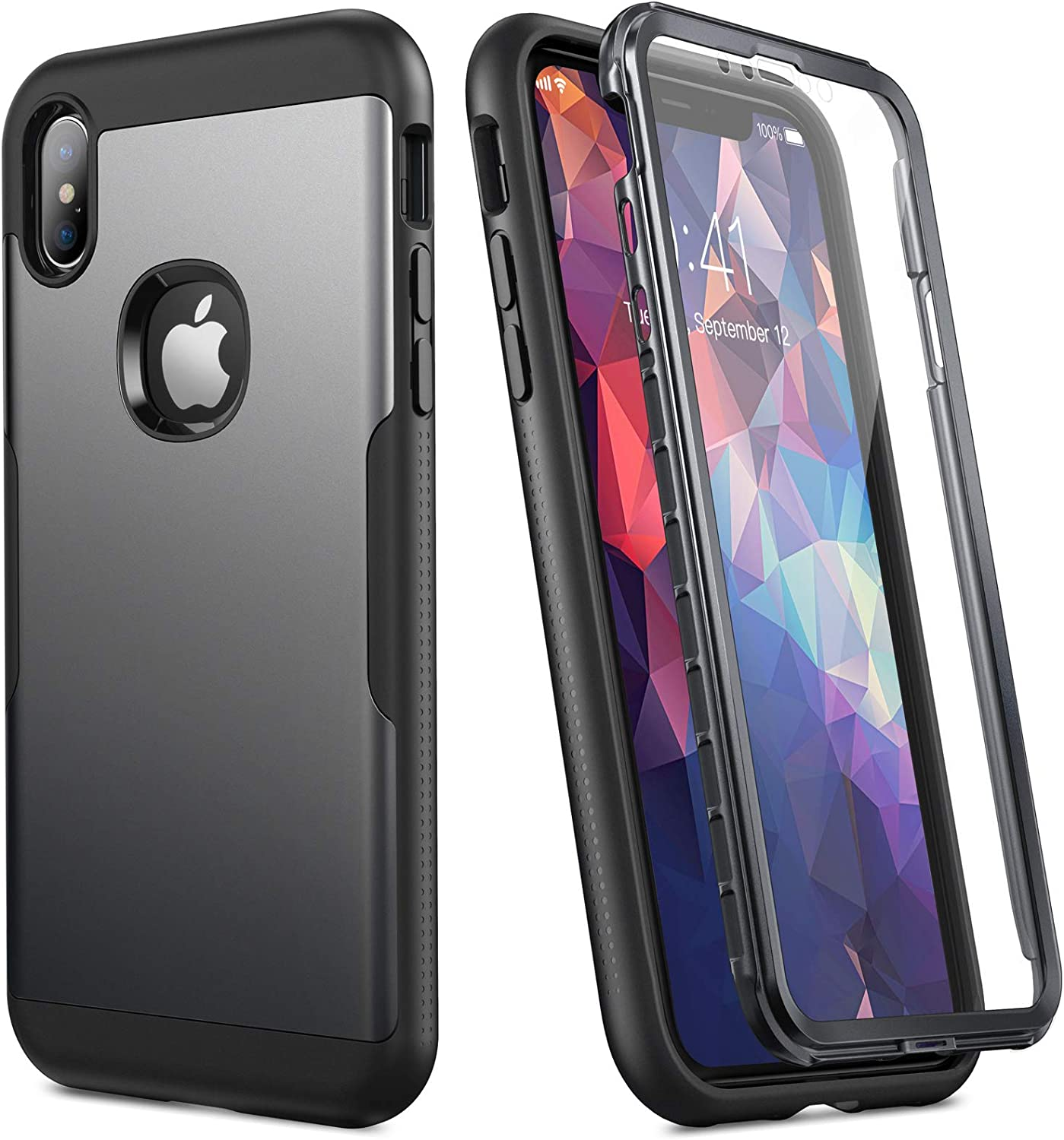YOUMAKER [2020 Upgraded] iPhone Xs Max Case, Full Body Rugged with Built-in Screen Protector Heavy Duty Protection Slim Fit Shockproof Cover for iPhone Xs Max 6.5 Inch -Black