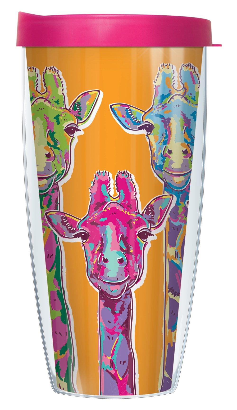 Giraffe Necks 22oz Mug Tumbler Cup with Pink Lid