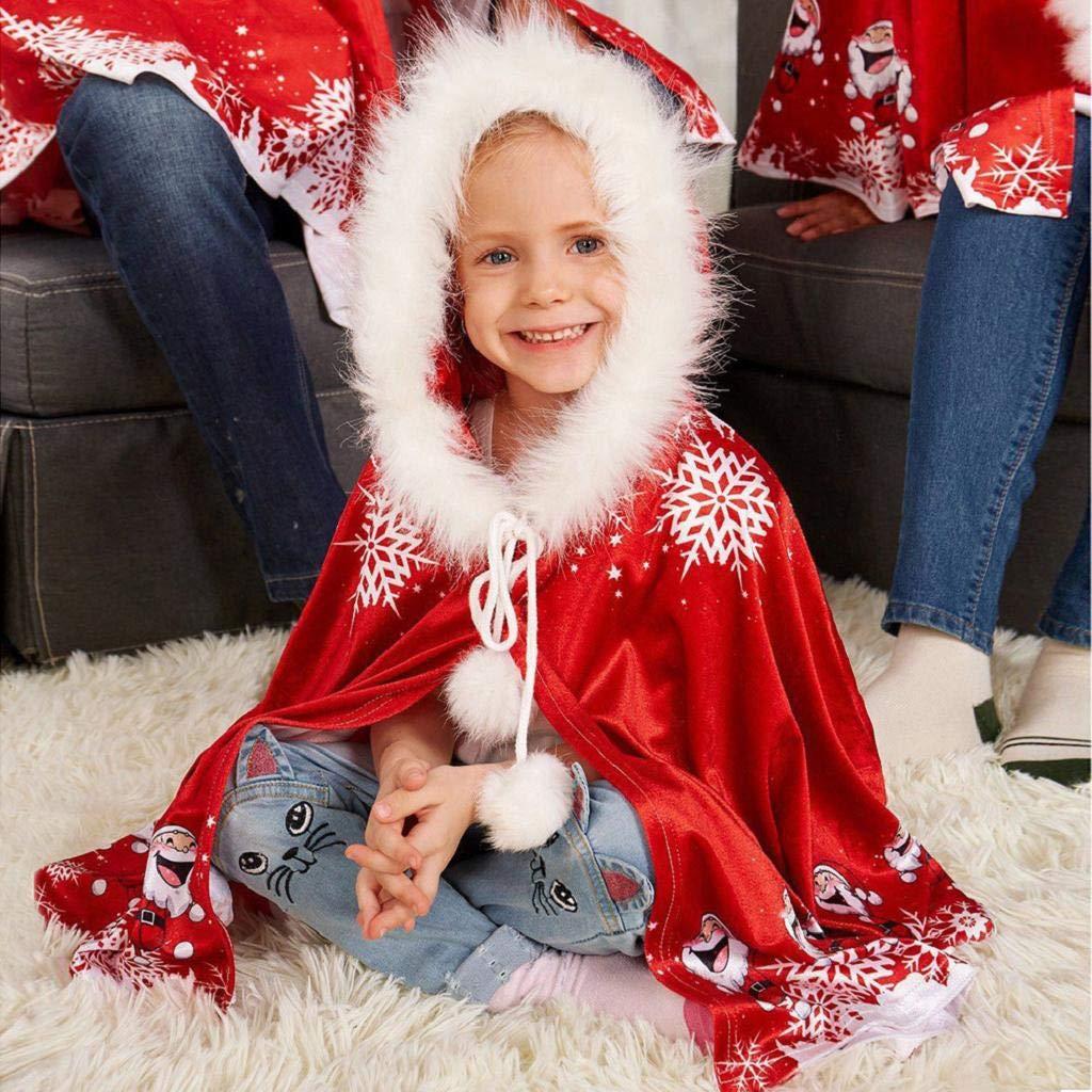 REYO Kids Jacket Toddler Winter Hooded Cloak Matching Christmas Hooded Cape Santa Coat Warm Outerwear