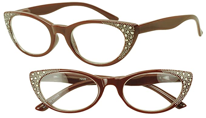 323d05010fa Vintage Red Cat Eye Reading Readers Bling Rhinestones Glasses Rx Strength  +2.25