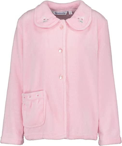 Slenderella Womens Fleecy Bed Jacket Button Up Floral Embroidered House Coat