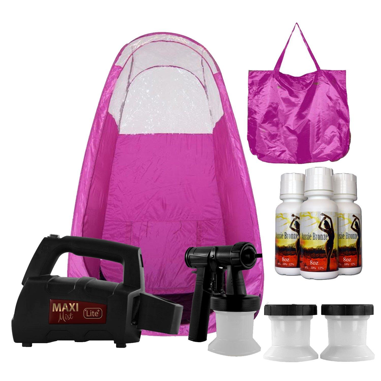 Maxi-Mist Lite Plus Sunless Spray Tanning KIT, Tent, Machine HVLP Airbrush Tan, Maximist PINK