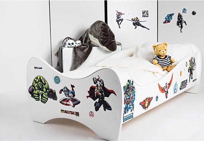 BEBEGAVROCHE Pack 8en1 cama Junior Avengers con colchón + ...