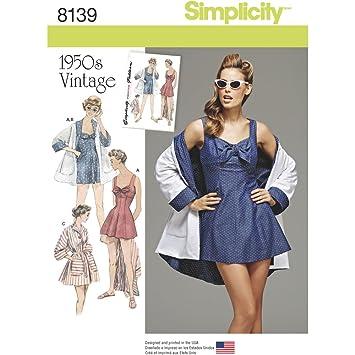 Simplicity 8139 Schnittmuster Vintage Baden Kleid und Strand Mantel ...