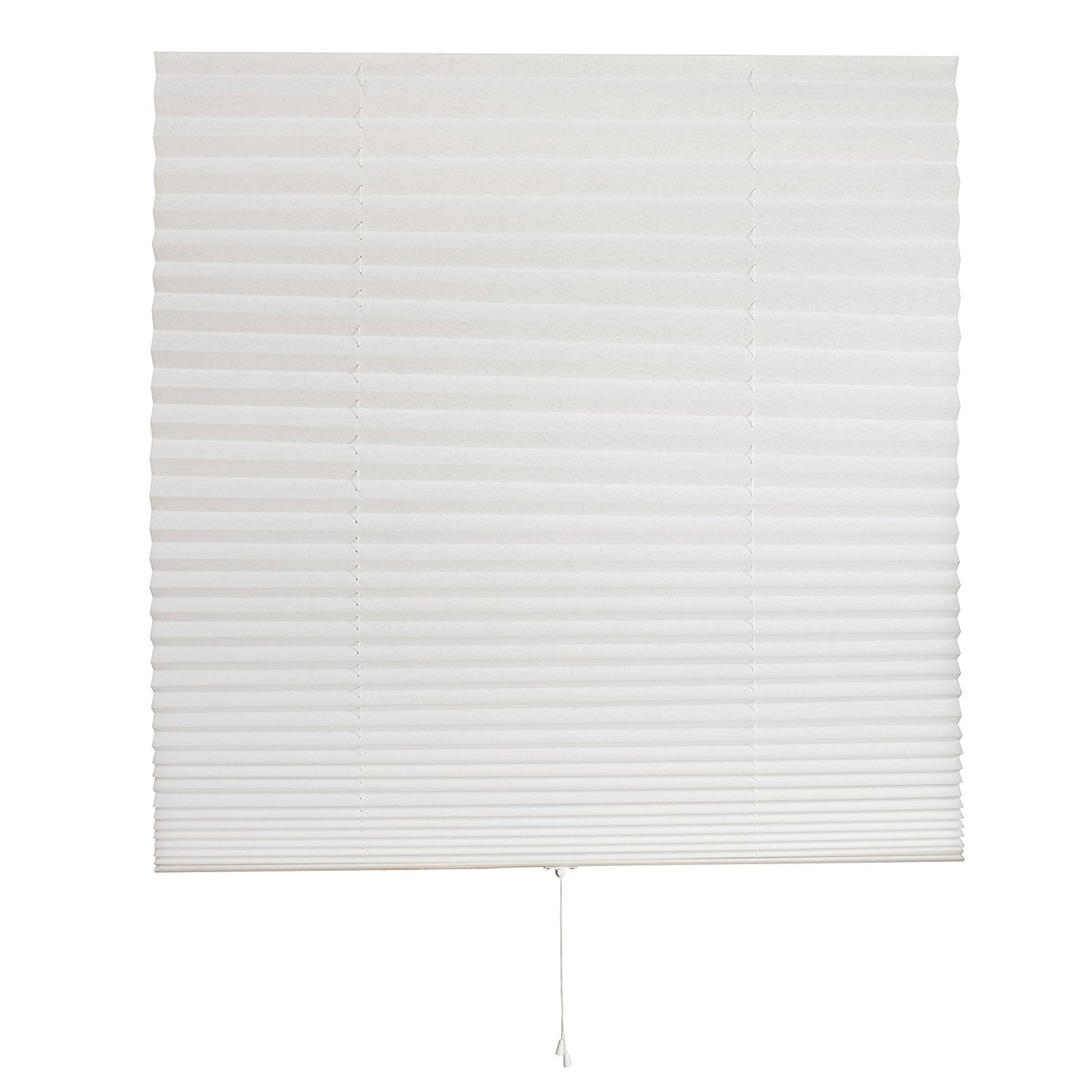 """Luxr Blinds Pleated Fabric Shades with Pull Cord Operation: Easy Installation Light Filtering Blinds- White, 48""""x72"""" (1) 48""""x72"""" (1)"""
