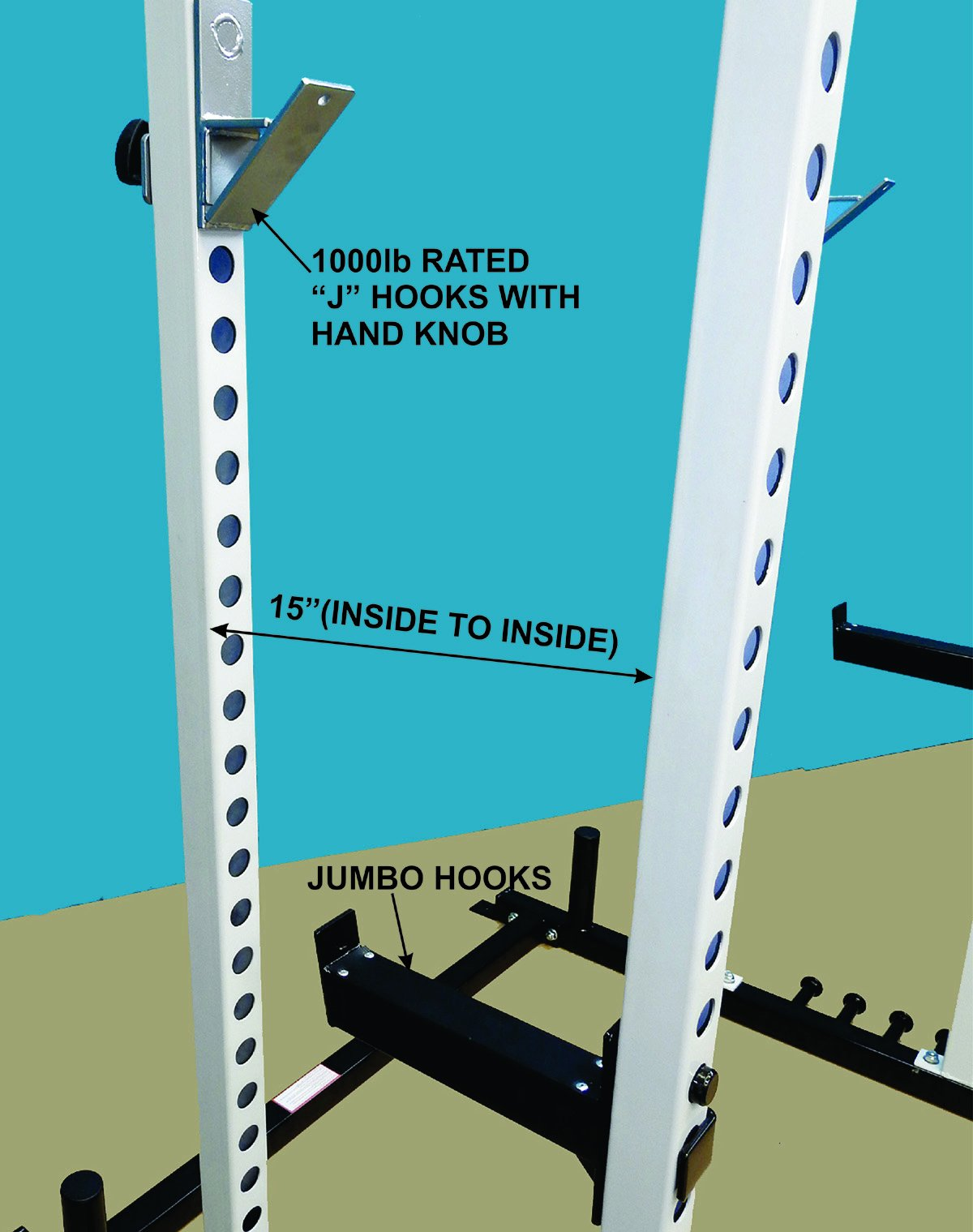POWER SQUAT CAGE with (2) Pull Up Bars and (4) Band holders welded to bases. Comes with 1000 lb rated ''J'' Hooks and HD Jumbo Hooks with Rubber Lining