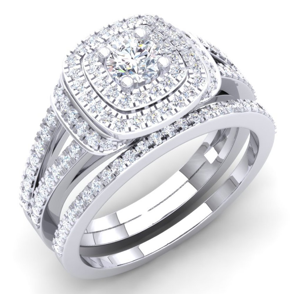 1.00 Carat (Ctw) 14K White Gold Round Diamond Ladies Bridal Halo Engagement Ring Set 1 CT (Size 8) by DazzlingRock Collection