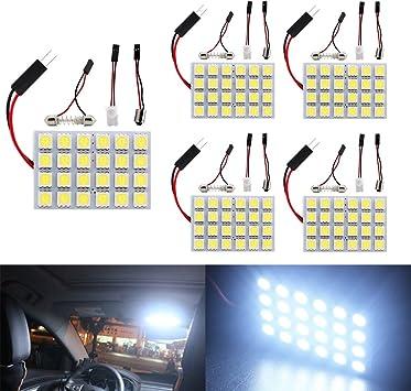 Car White 6 LED Light Panel T10 Festoon Adapter Dome Bulbs Map Interior Lamp
