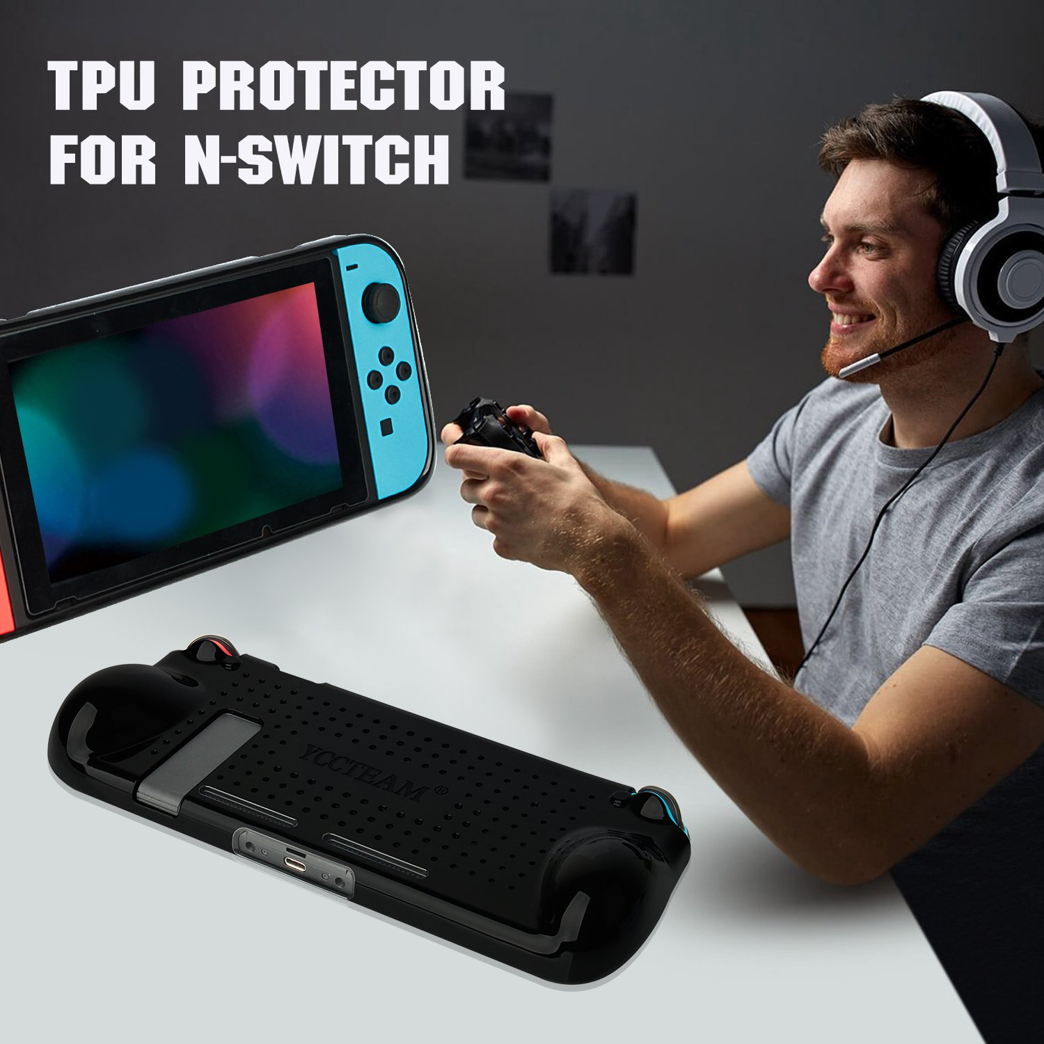 Switch Cover Protector, Heat Dissipation Comfortable Shock Protective Case for Nintendo Switch, Slim and Light