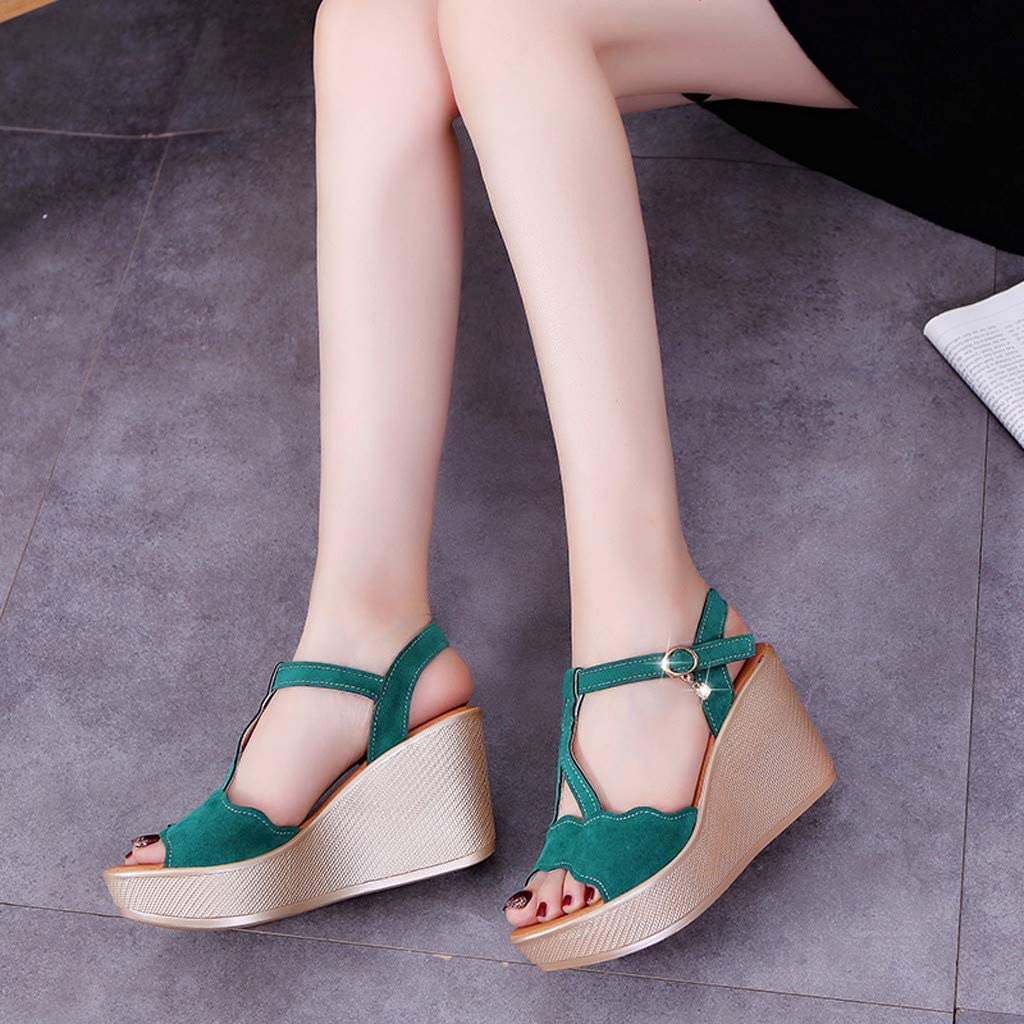 Fashion Womens Casual Open Toe Comfortable Breathable Beach Rome Buckle Strap Non Slip Wedges Shoes High Heels Sandals