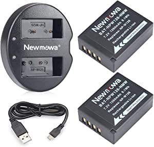 NP-W126S/NP-W126 Newmowa Battery (2-Pack) and Dual USB Charger for Fujifilm NP W126S/NP W126 Fujifilm FinePix X-Pro1 X-Pro2 HS30EXR HS35EXR HS50EXR X-A1 X-A2 X-E1 X-E2 X-M1 X-T1 X-T2 X-T10 X-T20 X100V