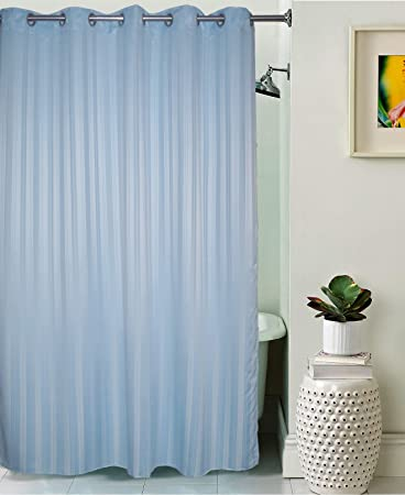 Lushomes Unidyed Polyester Shower Curtain with 10 Eyelets (Sky Blue, Size: 70''x82'') - Single Pc