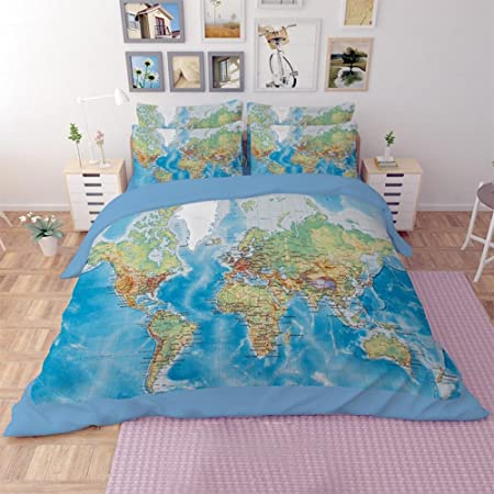 Bedding outlet world map bedding set vivid printed blue bed cover bedding outlet world map bedding set vivid printed blue bed cover twill cozy home textiles multi gumiabroncs Images