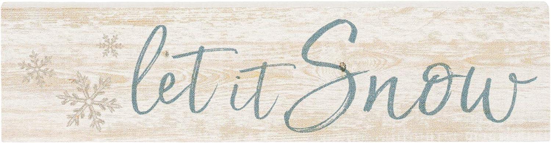 P. Graham Dunn Let it Snow Script Whitewash 6 x 1.5 Mini Pine Wood Tabletop Sign Plaque