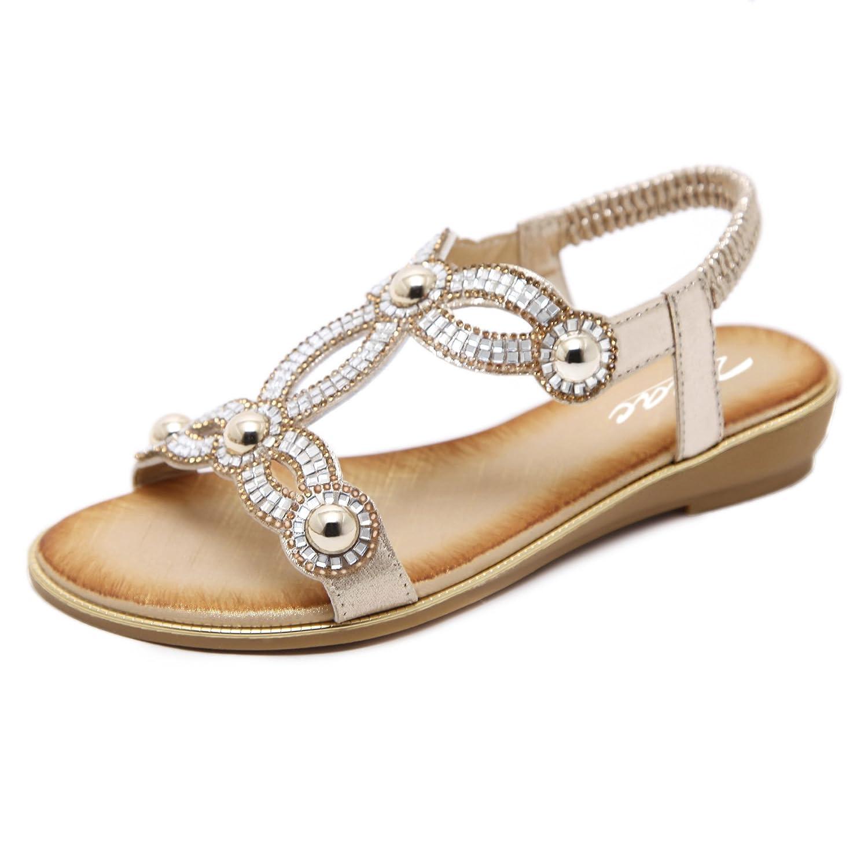 Zicac Damen Runde Peep Toe Elastische Bouml;hmen Roman Strass Low Flache Heel Sandalen Sommer Strand Post Flip Flops Flache Schuhe  EU 40 (Asien Tag 41)|Gold