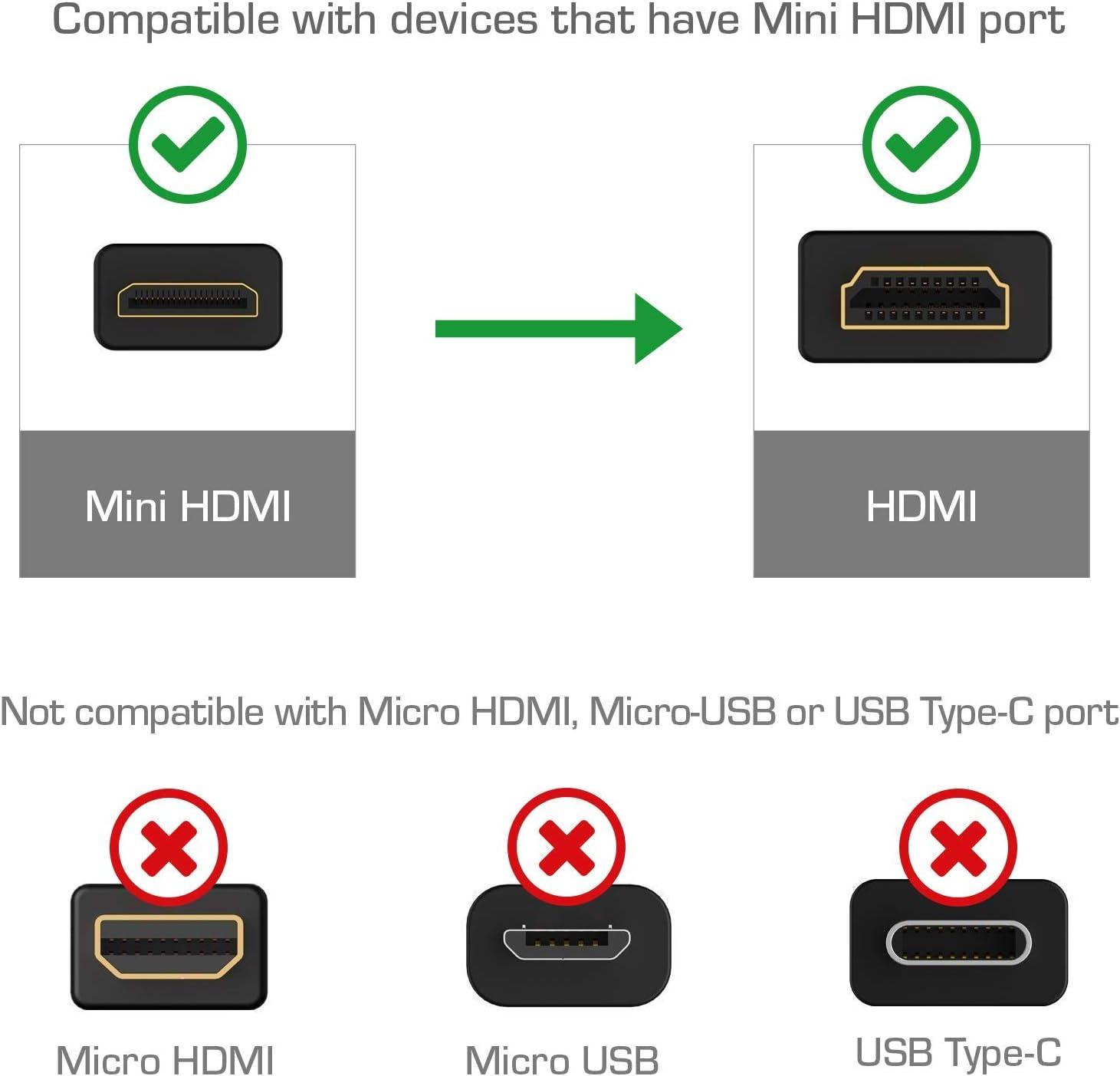 4K Ready High-Speed Mini HDMI to HDMI Cable 10 Feet Black Cmple HDMI to Mini HDMI