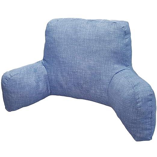 Innovaciones Roser Cojín Lectura Liso Estampado Azul Ducados (Almohada Lumbar También Disponible en Otros Estampados/Colores)