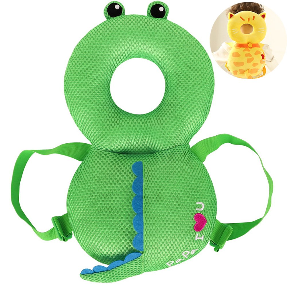 Zerlar Baby Head Protector Soft Breathable Mesh Infants Protective Cushion Pad with Elastic Adjustable Shoulder Belt for Crawling Sitting Walking Toddlers at 4-24 Months