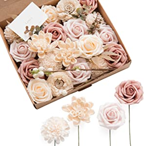 Ling's moment Natural Dusty Rose Artificial Flowers Combo for DIY Wedding Bouquets Centerpieces Arrangements Party Baby Shower Home Decorations