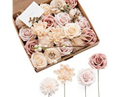 Ling's moment Natural Dusty Rose Artificial Flowers Combo for DIY Wedding Bouquets Centerpieces Arrangements Party Baby Showe