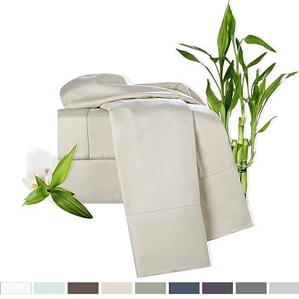 Clara Clark Bamboo Bed Sheet Set, Cream, Queen Size, By, 100%