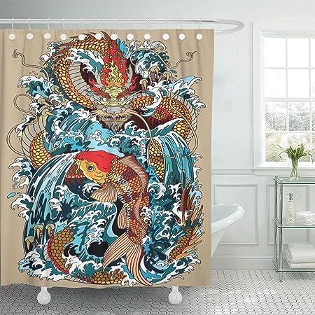 Cortina de ducha de tela con ganchos, diseño de dragón dorado y ...