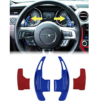 Steering Wheel Shift Paddle Extended Shifter Trim Cover for Ford Mustang 2015~2020 Aluminum Alloy (Blue): Automotive