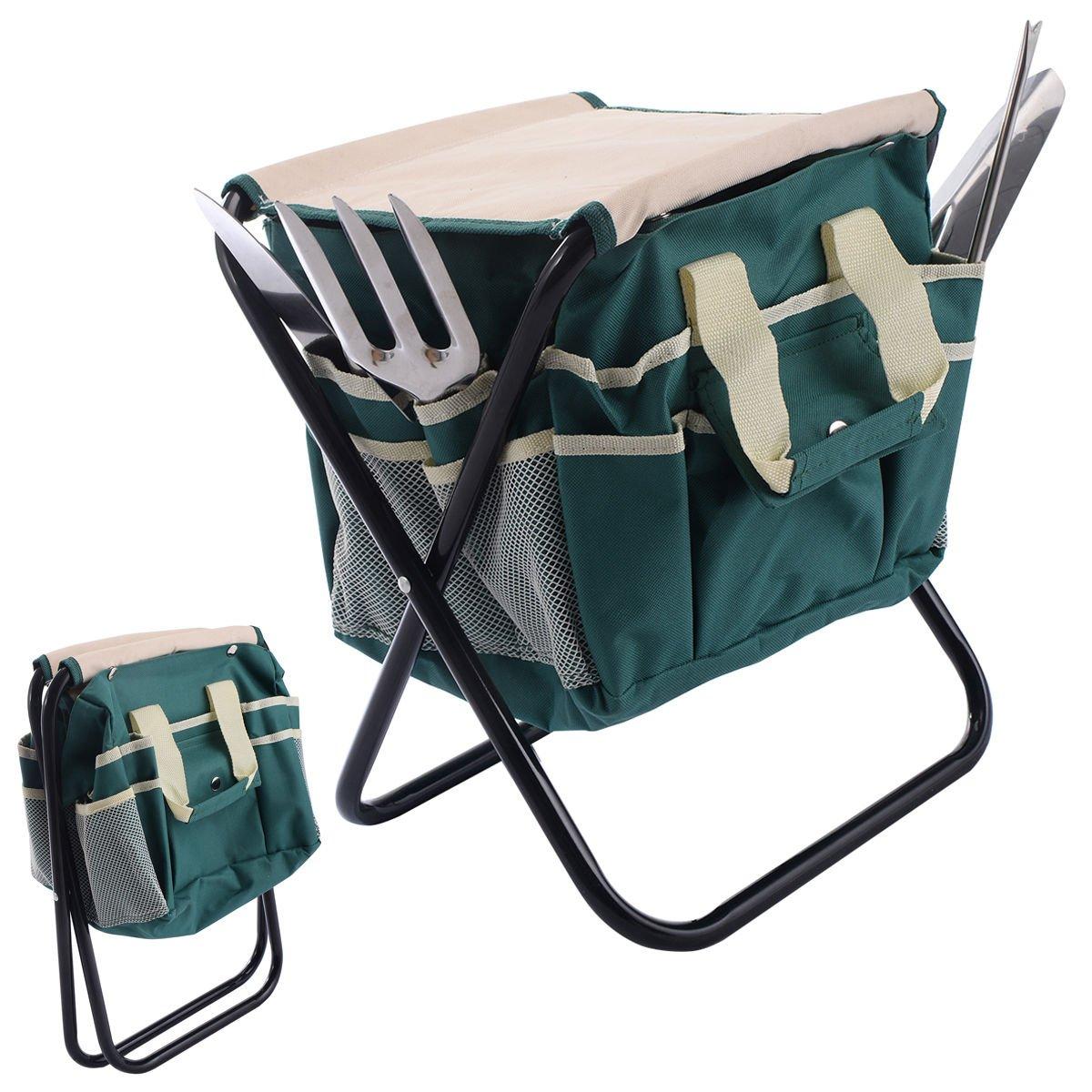 Lightweight and tools gardening stainless steel portable external garden tool bag set folding stool 7 pcs by beautifulwoman