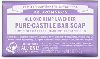 product image for Dr. Bronner's - Pure-Castile Bar Soap (Lavender, 5 ounce) - Made with Organic Oils, For Face, Body and Hair, Gentle and Moisturizing, Biodegradable, Vegan, Cruelty-free, Non-GMO