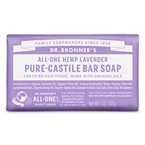 Dr. Bronner's - Pure-Castile Bar Soap (Lavender, 5 ounce) - Made with Organic Oils, For Face, Body and Hair, Gentle andMoisturizing, Biodegradable, Vegan, Cruelty-free, Non-GMO