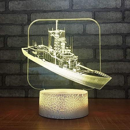 LWJZQT luz de noche 3d Barco Colorido Creativo 3D Lámparas De Mesa ...
