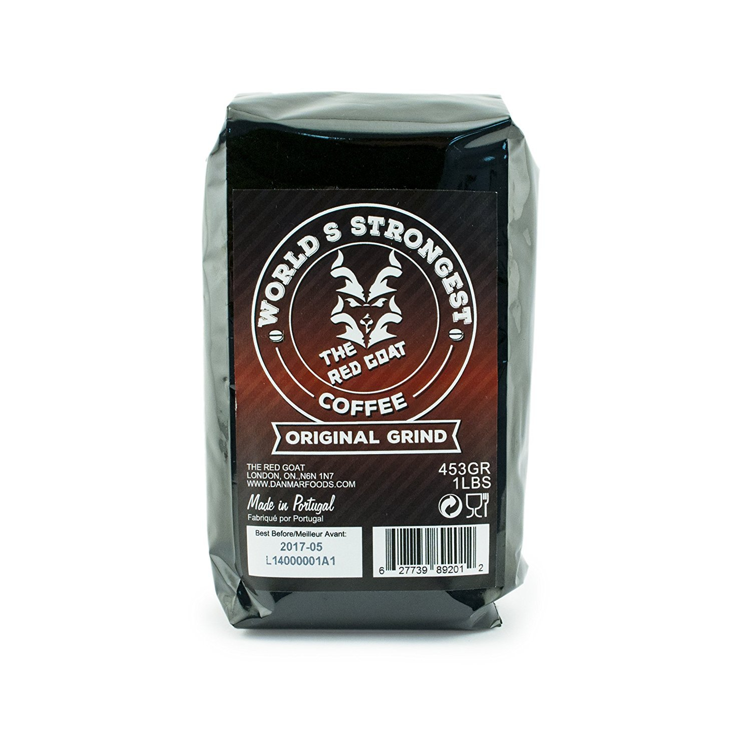 The Red Goat Original Ground Coffee, the World's Strongest Coffeend - 16 Ounce Bag (Original Grind)