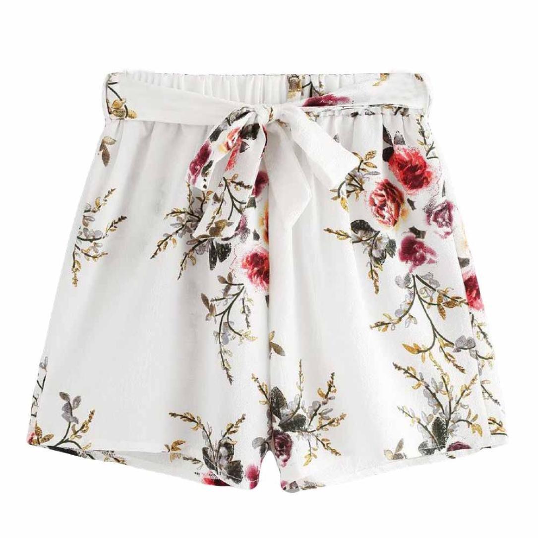Damen Shorts,Btruely Frau Blumen Drucken Hohe Taille Spitze Shorts Sommer Kurze Hosen (Asien Größe:M, Weiß 1) rfeofjs_2586
