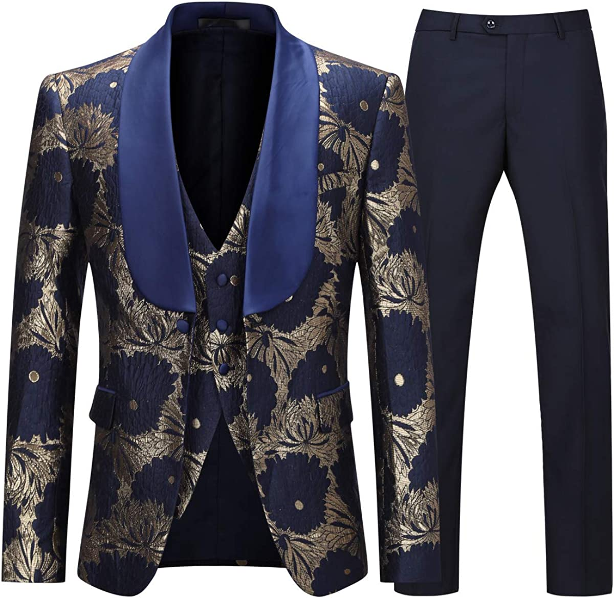 Boyland Boys Tuxedo Suit Floral Shawl Lapel Slim Fit Elegant Blue Suit Set