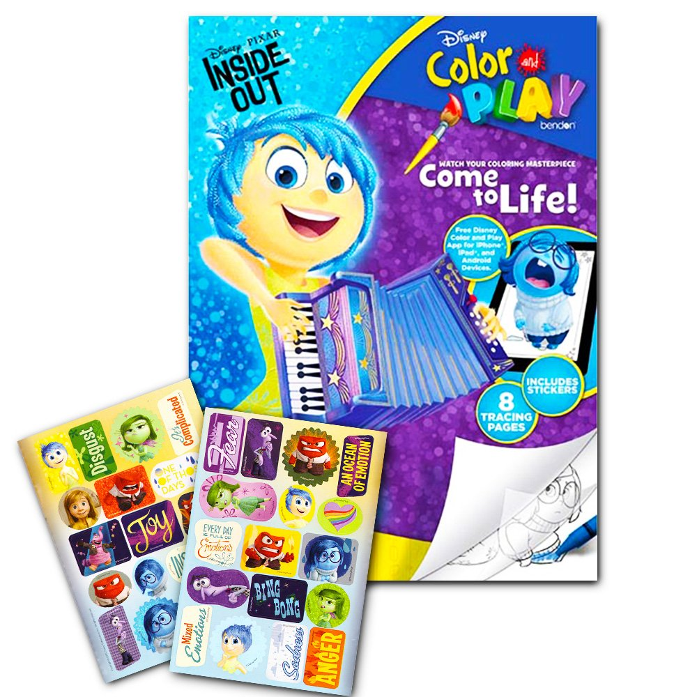 Disney Pixar Inside Out Color and Play Coloring Book Over 30 Stickers Igroteco