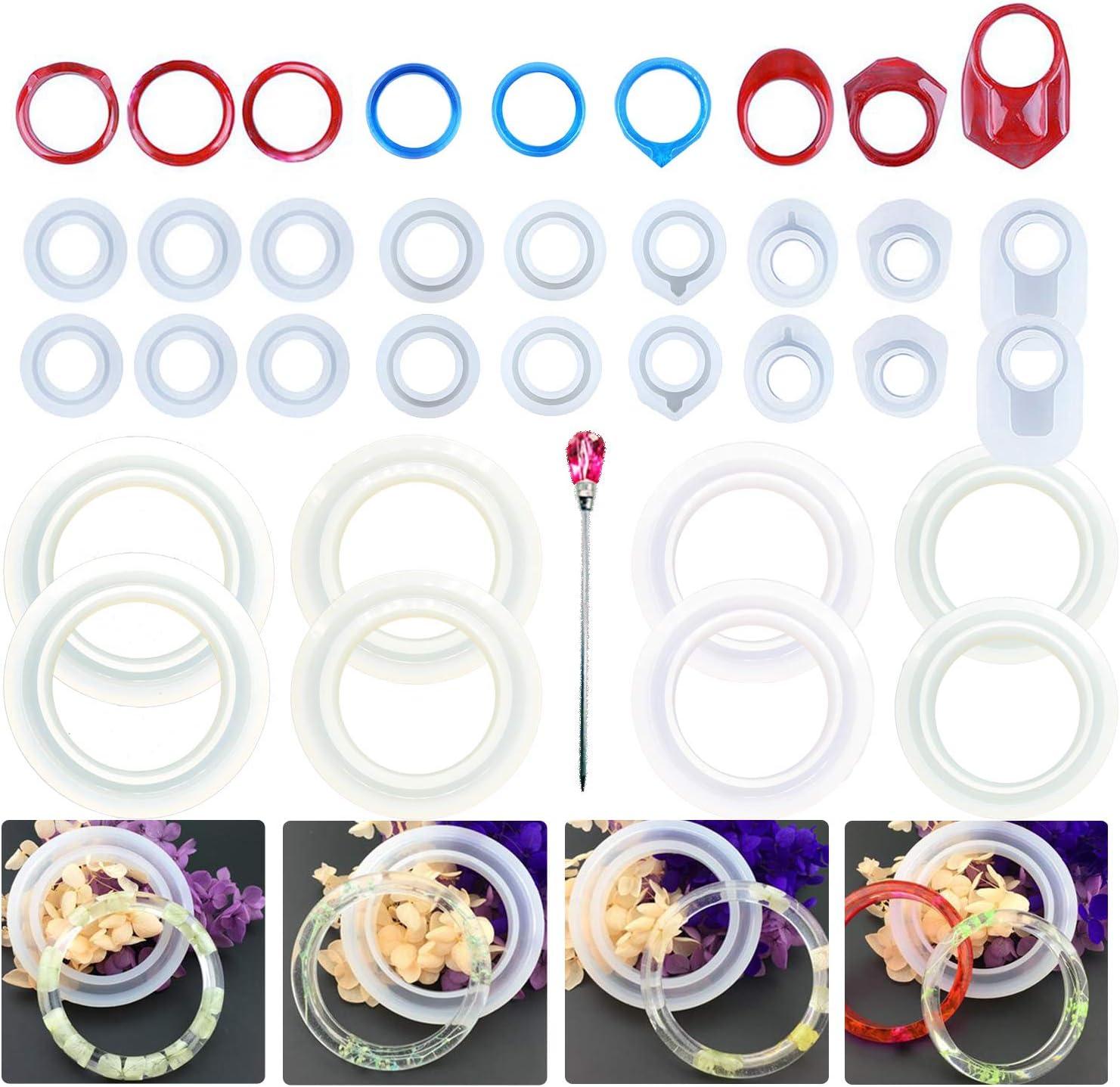 Allazone 32 Pz Molde Silicona Resina Anillo Pulsera Joyería Collar Joya Pendiente Fabricación de Colgante Creativo Bricolaje DIY