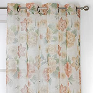 HEJEME Sheer Curtains 84 Inches for Living Room with Rose Floral Print Drapes - Semi Volie Curtains with Grommet Top Bedroom Window Treatment Panels, Set of 2 Panels (Taupe)