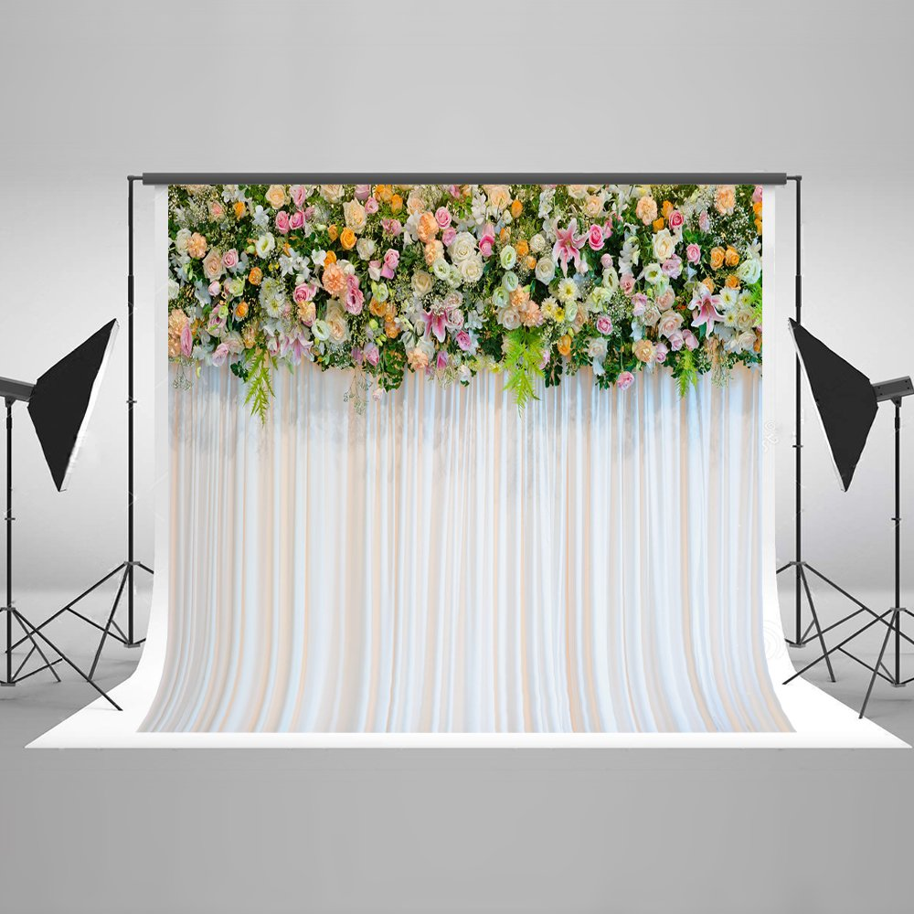Kate 7x5ft Wedding Ceremony Microfiber Flowers Photography Backdrops Curtain Photo Background