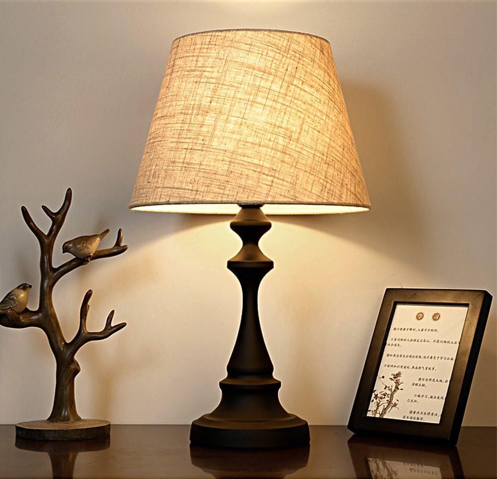 Lámpara de Mesa-Tradicional de Hierro Voluta Atenuación lámpara de mesa con el Tambor de lino Sombra Mesita de Noche lámpara de mesa Dormitorio salón de la lámpara: Amazon.es: Iluminación
