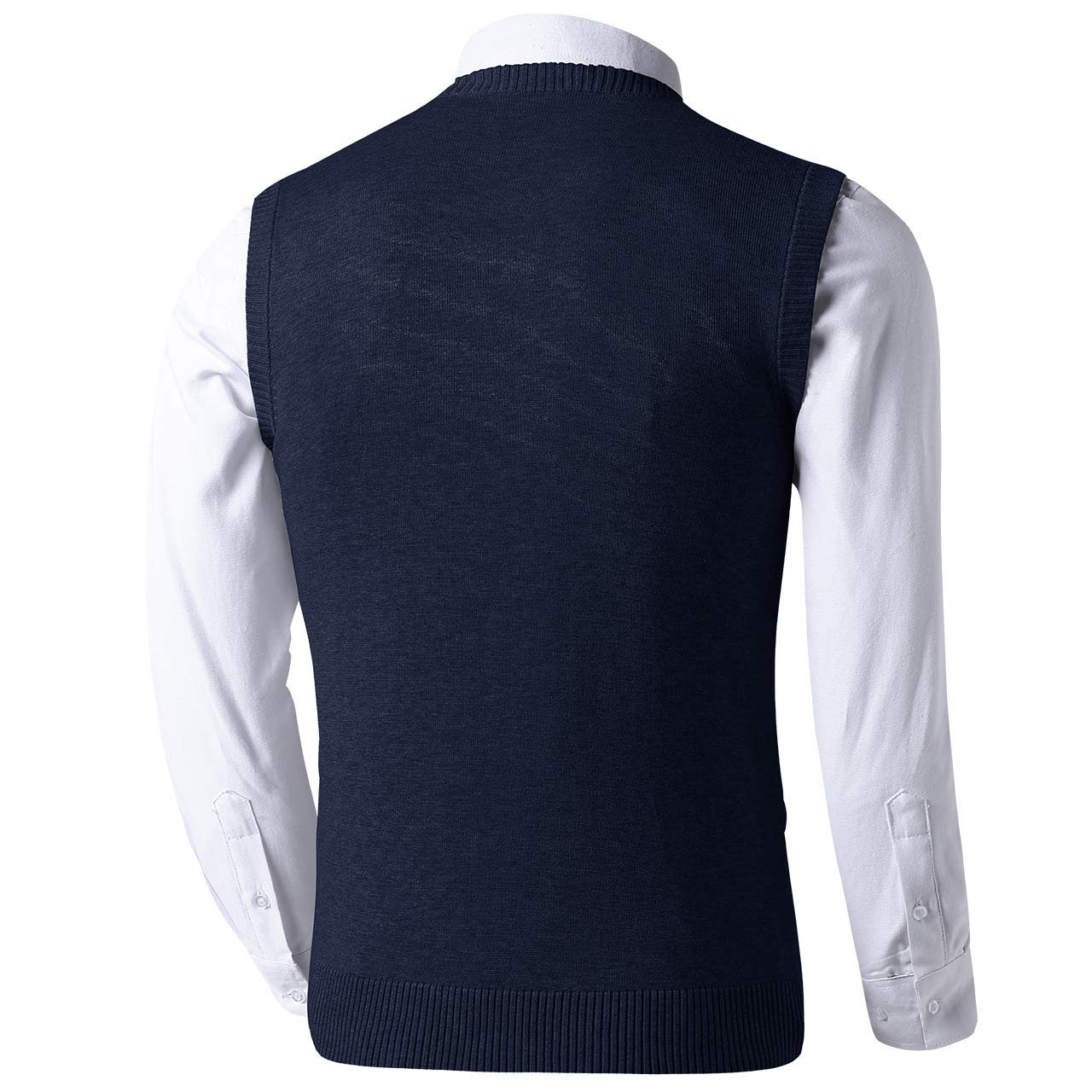 LTIFONE Mens Slim Fit V Neck Sweater Vest Basic Plain Short Sleeve Sweater Pullover Sleeveless Sweaters with Ribbing Edge 1617 NEW1