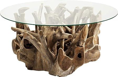 Kare Design Table Basse Plateau Rond Pied Bois Flotte Roots