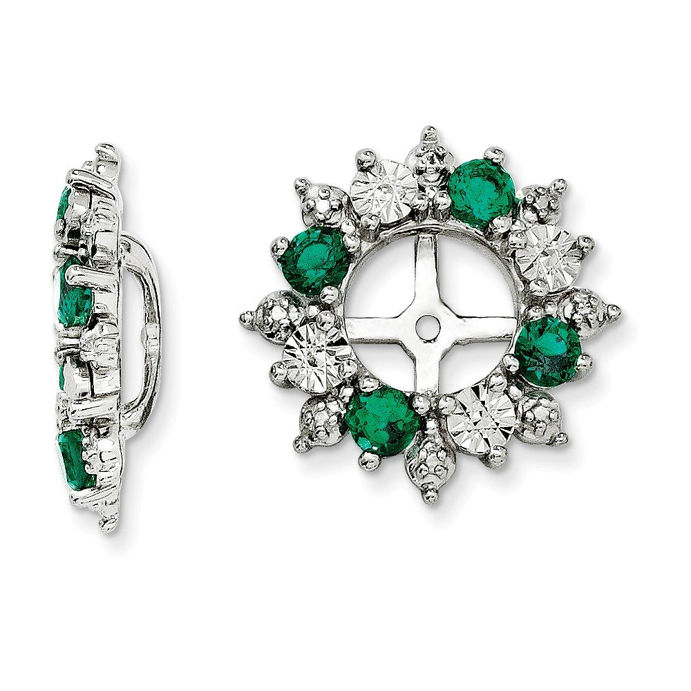 Mia Diamonds 925 Sterling Silver Simulated Emerald Earring Jacket (15mm x 15mm)