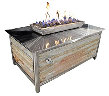 Impact Fire Table, Stainless Steel, Rectangular, Corrugated Steel Side  Panels, Propane Gas