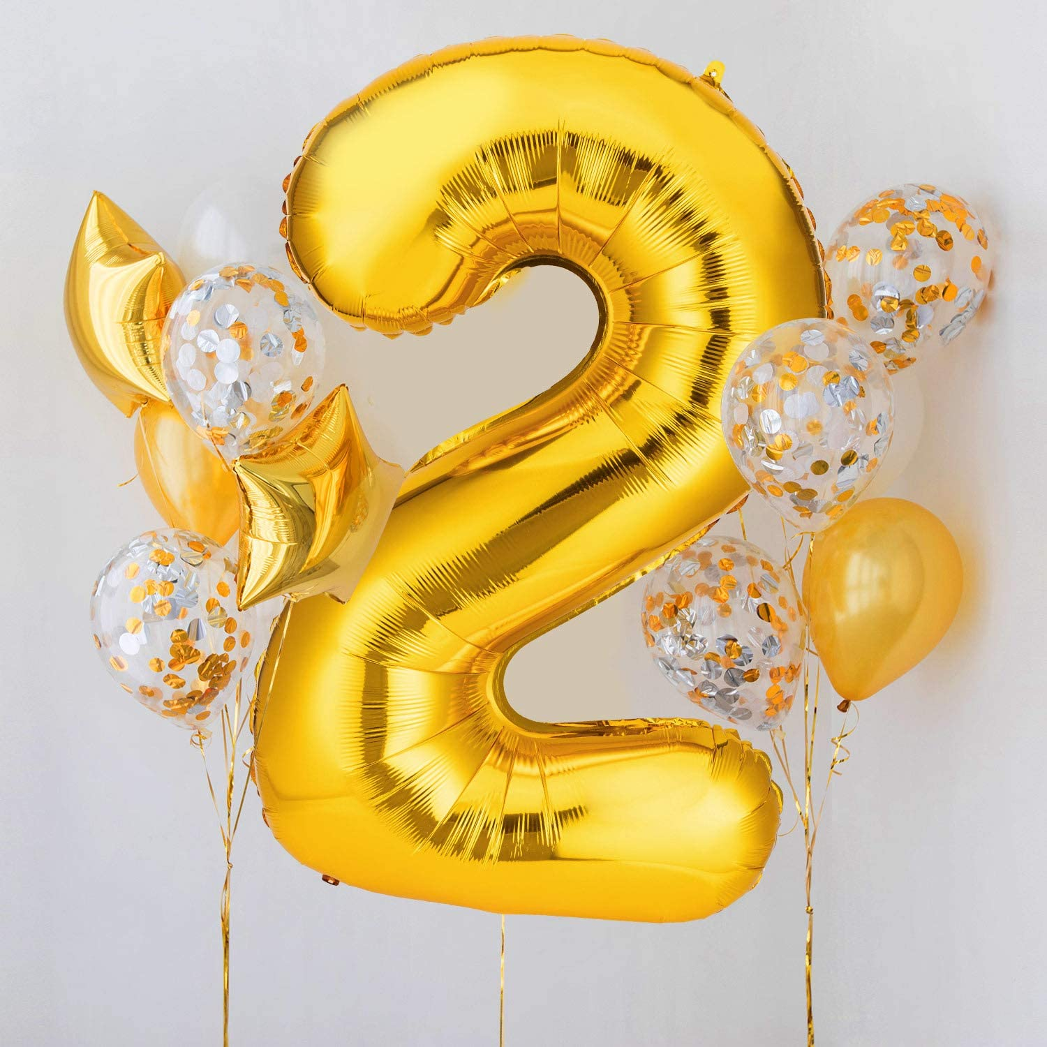 Digital Balloons for Birthday Party Decorations Supplies 40 Inch Gold Number 5 Balloons
