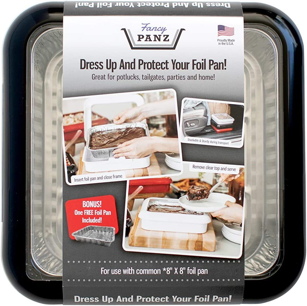 Fancy Panz 8 x 8-Inch Dress Up and Protect Your Foil Pan, 100% Made in USA, 8 x 8 Foil Pan Included. Hot or Cold Food. Stackable for easy travel. Great for potlucks, tailgating & home (Black)
